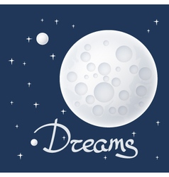 Moon with stars and text vector