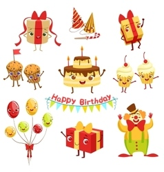 Cute birthday party celebration related objects vector