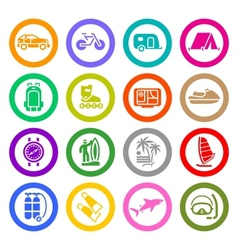 Vacation recreation travel icons set vector