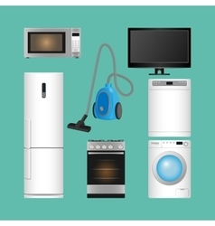 Set of household appliances modern kitchen vector