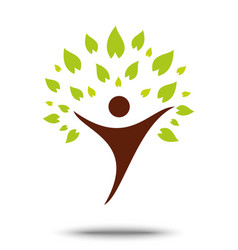 green family tree sign and symbol eco concept vector image