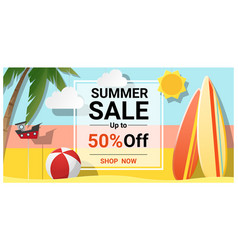 Summer sale background with colorful surfboards vector