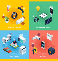 Smart home concept icons set vector