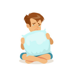 frustrated sad boy character sitting on the floor vector image