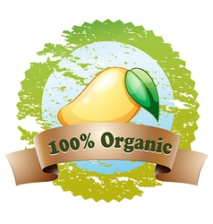 An organic label with a ripe mango vector