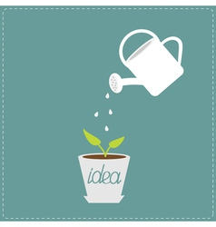 Watering can and plant in the pot growing idea vector