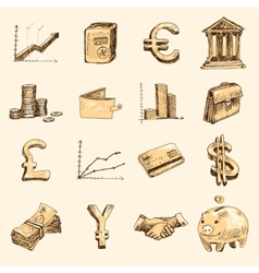Finance icons set sketch gold vector
