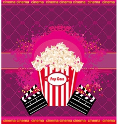 Pop corn with clapper board cinema abstract card vector