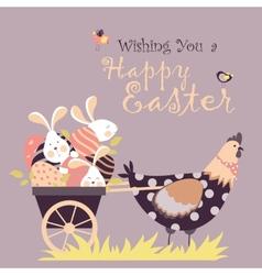 Easter bunnieschicken and easter eggs vector image