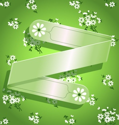 Green floral satin ribbon background vector