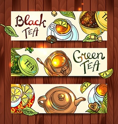 Tea banners vector