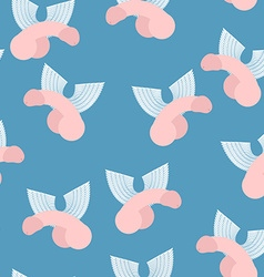Winged penis seamless pattern background of dildos vector