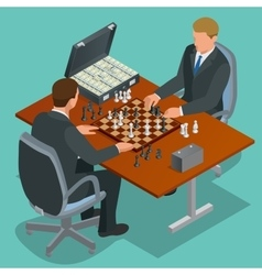 Chess players two man sitting and playing chess vector