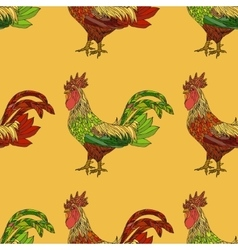 Seamless pattern with colorful cock vector