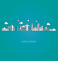 Travel and tourism skyline line style illus vector