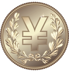 Silver money yuan or yen coin vector