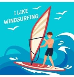 Windsurfing background vector