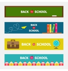 Back to school banner set green board world globe vector