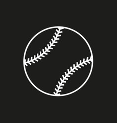 baseball line art icon on black background vector image vector image