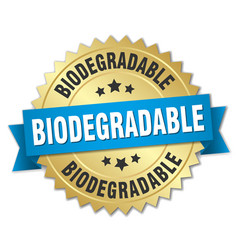 Biodegradable round isolated gold badge vector