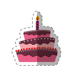 Birthday cake sweet candle dessert vector
