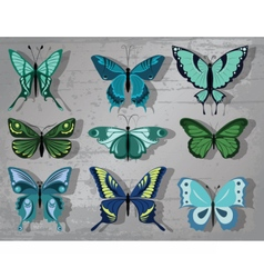 Butterfly set in blue color vector