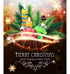 Christmas decorations with candles and fir vector
