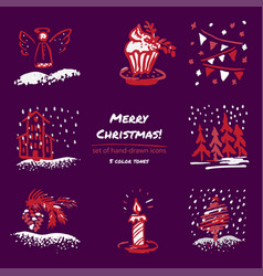christmas hand drawn sketch icons on dark purple vector image