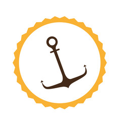 Circular frame with anchor icon vector