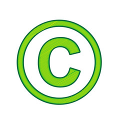 Copyright sign lemon vector