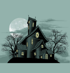 Creepy haunted ghost house scene vector