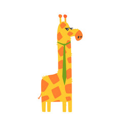 Cute cartoon giraffe with green tie african vector