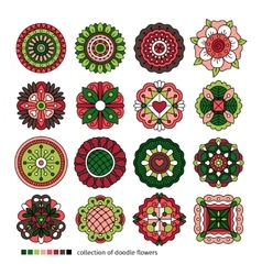 Doodle ethnic flowers collection vector image vector image