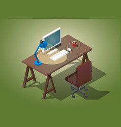 Empty desktop for businessman isometric vector