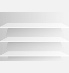 Empty shelf on white wall background vector