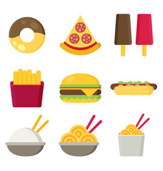 Fast food icons burger and fries pizza hot dog vector