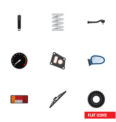 Flat icon parts set of gasket windshield auto vector