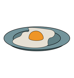fried egg on a plate icon vector image