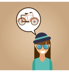 hipster girl bicycle vintage background icon vector image
