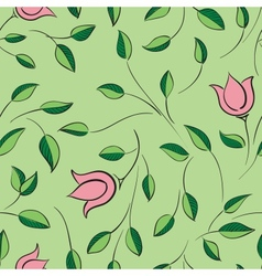 Leaves and flowers seamless pattern Nature floral vector image vector image