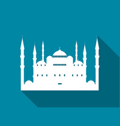 mosque with a long shadow blue mosque flat icon vector image vector image