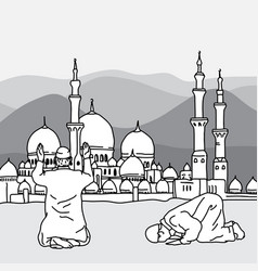 muslim doing salah at the background of a mosque vector image