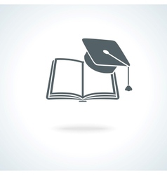 Open book with square academic cap vector