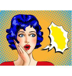 pop art wonder girl with speech bubble vector image vector image