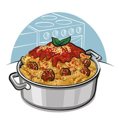 rigatoni pasta with meatballs vector image vector image