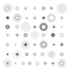 Round ornament set spirograph vector image