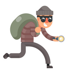 running with bag of loot and flashlight thief vector image