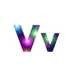 Set of letters firework v vector