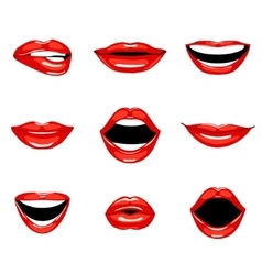 Set of red kissing and smiling cartoon lips vector image vector image
