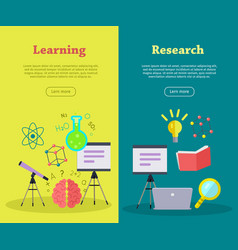 set of scientific web banners in flat style vector image vector image